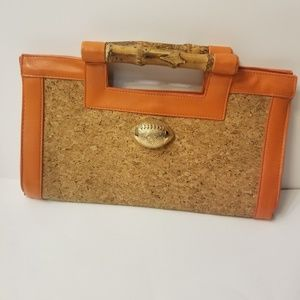 NWOT orange and cork purse football accent